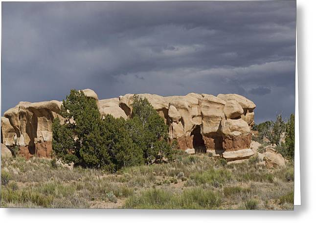 Holes In Sandstone Greeting Cards - Devils Garden Hoodoos Panorama 3 of 4 Greeting Card by Gregory Scott