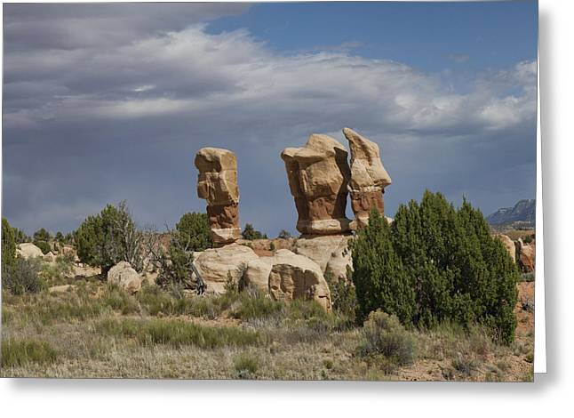 Holes In Sandstone Greeting Cards - Devils Garden Hoodoos Panorama 4 of 4 Greeting Card by Gregory Scott