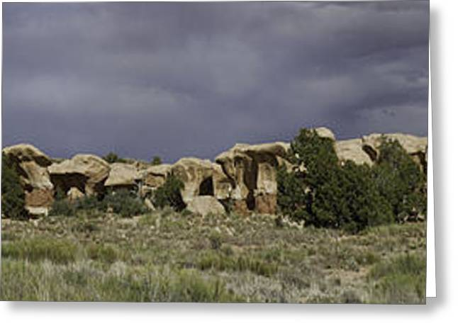 Holes In Sandstone Greeting Cards - Devils Garden Panorama Greeting Card by Gregory Scott