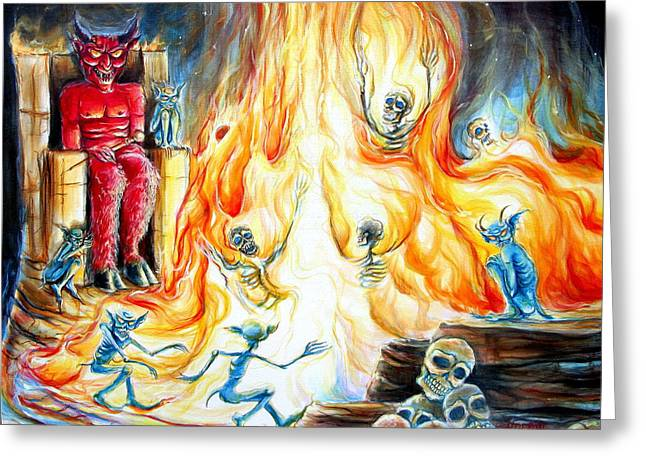 Lucifer Greeting Cards - Devils Inferno II Greeting Card by Heather Calderon