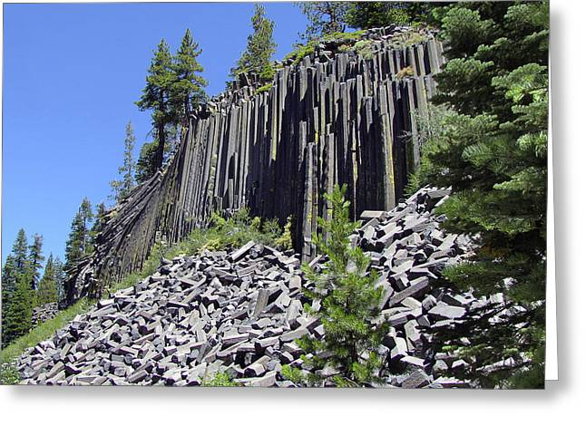 Woodpile Greeting Cards - Devils Postpile - Natures Masterpiece Greeting Card by Christine Till