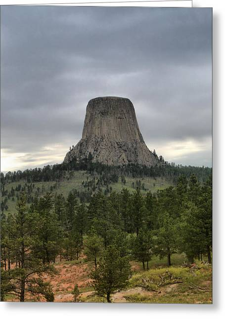 Greens Ceramics Greeting Cards - Devils Tower Greeting Card by Nena Trapp