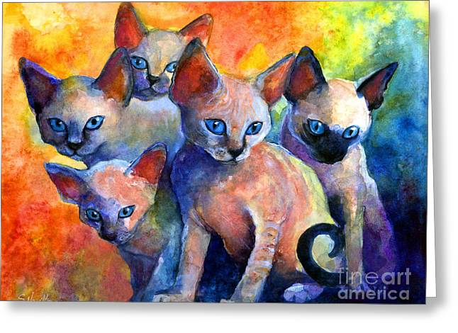 Animals Drawings Greeting Cards - Devon Rex kittens Greeting Card by Svetlana Novikova