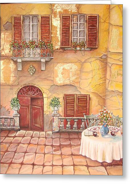 Sunlight On Pots Paintings Greeting Cards - Devoted Greeting Card by Cecilia Putter