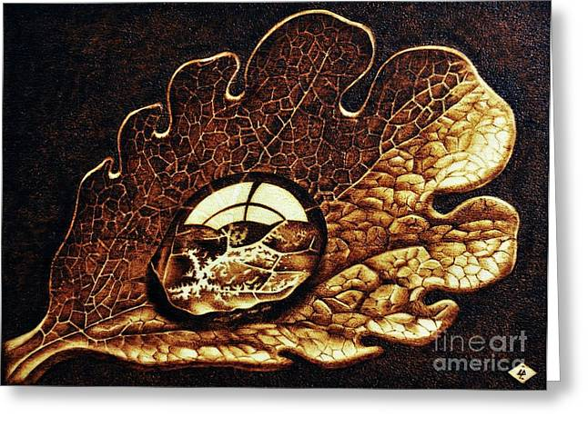 Floral Still Life Pyrography Greeting Cards - Dewdrop on a leaf Greeting Card by Ilaria Andreucci