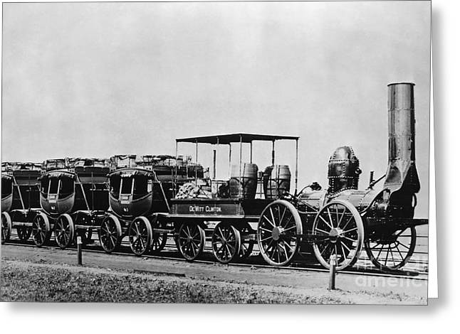 Dewitt Clinton Locomotive And Cars Greeting Card by Omikron