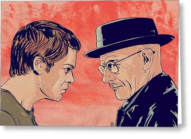 Dexter and Walter Greeting Card by Giuseppe Cristiano