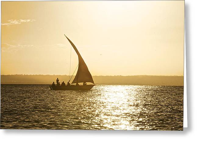 Mid Adult Women Greeting Cards - Dhow Sailing Along The Coast Of Matemo Greeting Card by Jad Davenport