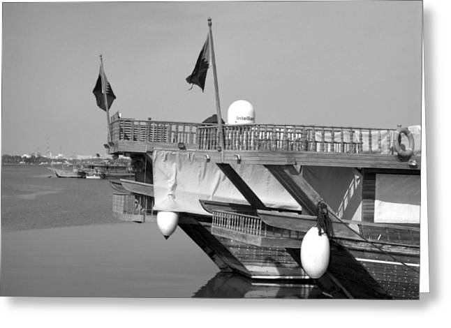 Wooden Ship Greeting Cards - Dhow sterns Greeting Card by Paul Cowan