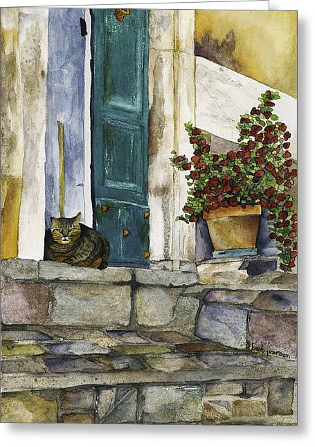 Barb Pearson Greeting Cards - Di Gatto Greeting Card by Barb Pearson