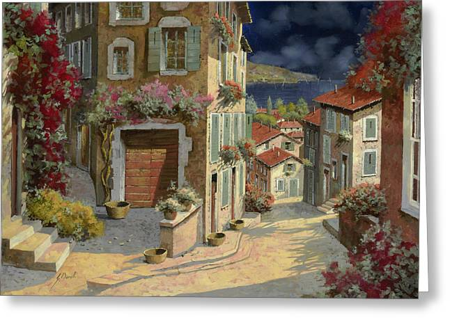 Dark Paintings Greeting Cards - Di Notte Al Mare Greeting Card by Guido Borelli