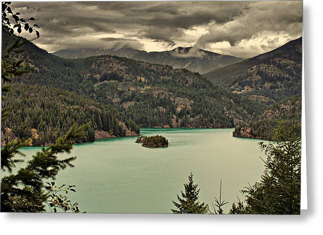 Hazy Days Greeting Cards - Diablo Lake - Le grand seigneur of North Cascades National Park WA USA Greeting Card by Christine Till