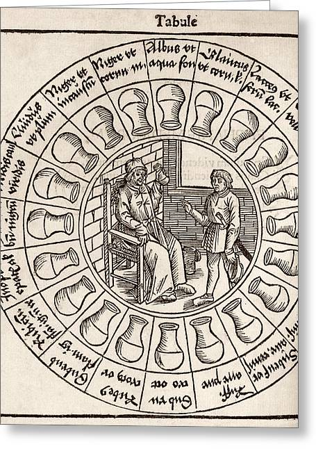 Hippocratic Greeting Cards - Diagnosis From Urine, 16th Century Greeting Card by Middle Temple Library