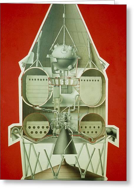 Luna Greeting Cards - Diagram Of The Soviet Luna-1 Spacecraft Greeting Card by Ria Novosti