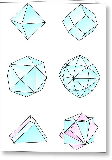 Dodecahedron Greeting Cards - Diamond Crystal Forms, Artwork Greeting Card by Gary Hincks