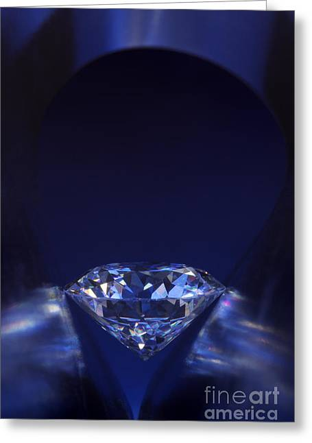 Lit Jewelry Greeting Cards - Diamond in deep-blue light Greeting Card by Atiketta Sangasaeng