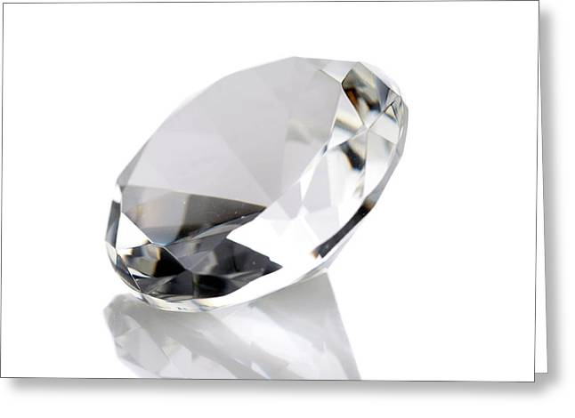 Carat Photographs Greeting Cards - Diamond Isolated On White Greeting Card by Michael Ledray