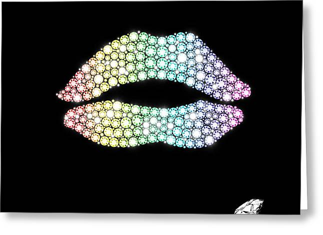 Carat Greeting Cards - Diamond Lip Shape Greeting Card by Setsiri Silapasuwanchai