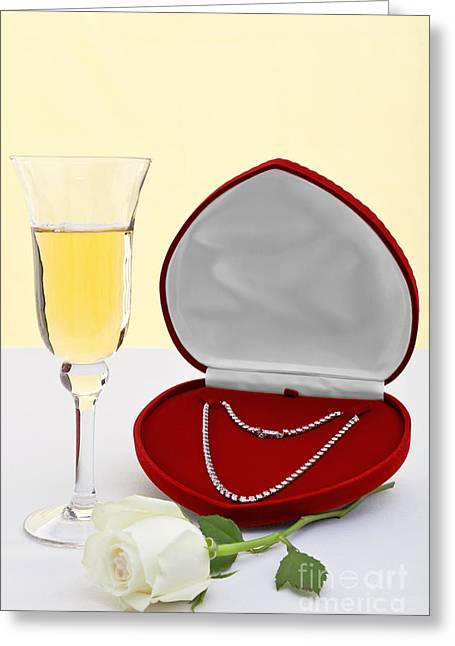 Special Occasion Greeting Cards - Diamond necklace with champagne and white rose. Greeting Card by Richard Thomas