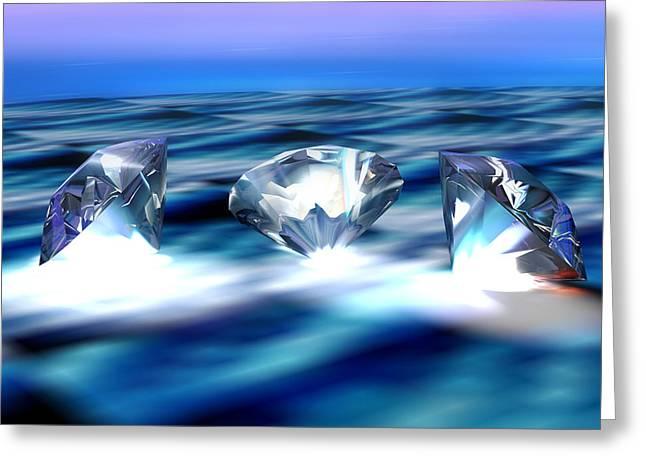 Valuable Greeting Cards - Diamonds, Computer Artwork Greeting Card by Pasieka