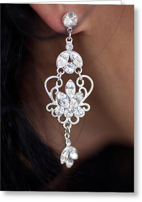 Diamonte Ear Bling Greeting Card by Carole Hinding
