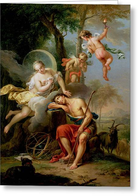 Spheres Paintings Greeting Cards - Diana and Endymion Greeting Card by Frans Christoph Janneck