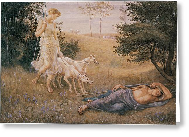 Endymion Greeting Cards - Diana and Endymion Greeting Card by Walter Crane