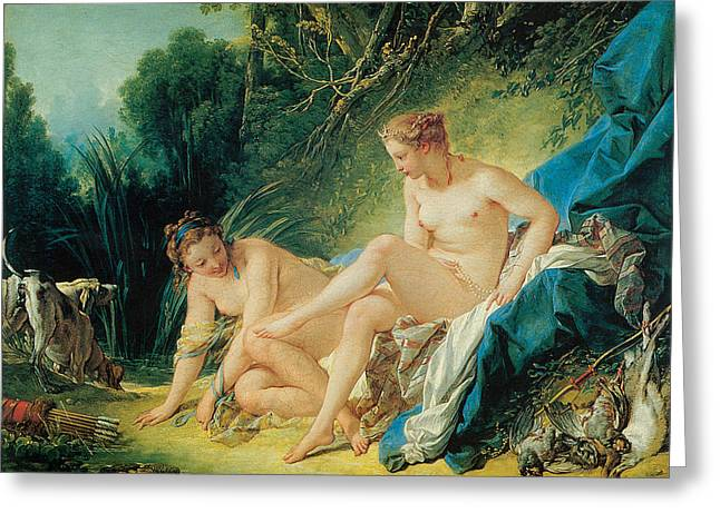 Francois Boucher Greeting Cards - Diana Bathing Greeting Card by Francois Boucher