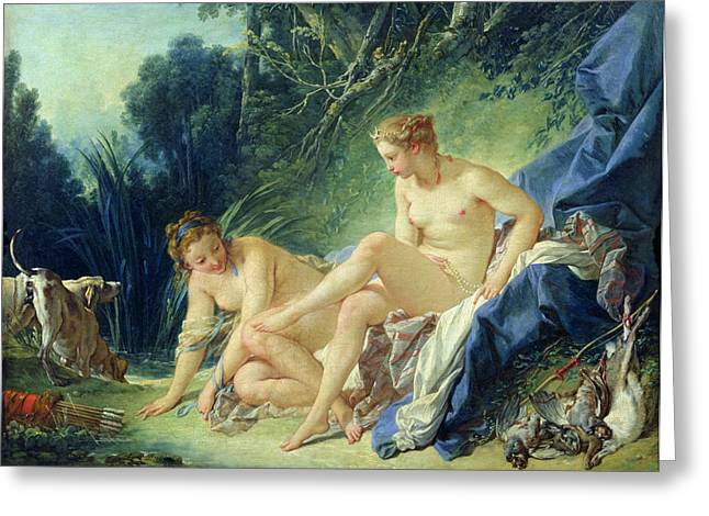 Spoiled Greeting Cards - Diana getting out of her bath Greeting Card by Francois Boucher
