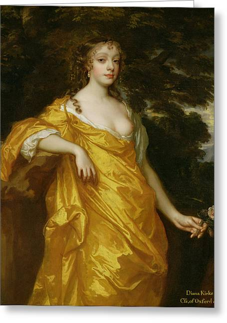 Golden Greeting Cards - Diana Kirke-Later Countess of Oxford Greeting Card by Sir Peter Lely