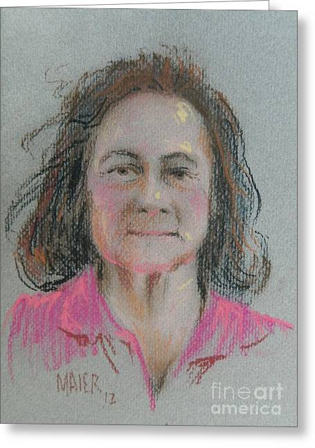 Pastel Portrait Greeting Cards - Dianne Greeting Card by Donald Maier