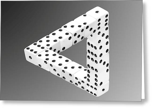 Visual Mixed Media Greeting Cards - Dice Illusion Greeting Card by Shane Bechler