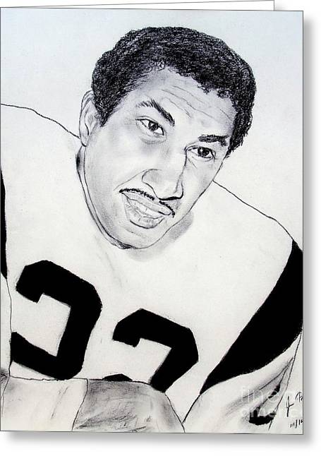 Running Back Drawings Greeting Cards - Dick Bass of the Los Angeles Rams Greeting Card by Jim Fitzpatrick