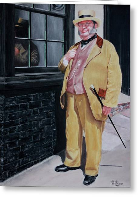 Characters Pastels Greeting Cards - Dickens character outside old curiosity shop Greeting Card by John  Palmer