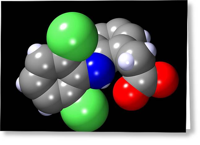 Anti Greeting Cards - Diclofenac Molecule Greeting Card by Dr Mark J. Winter