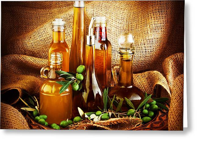 Vinegar Photographs Greeting Cards - Different salad dressings Greeting Card by Anna Omelchenko