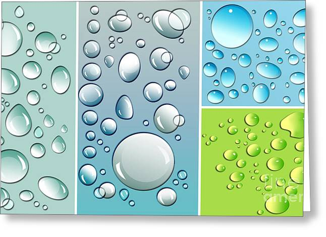Spheres Greeting Cards - Different size droplets on colored surface Greeting Card by Sandra Cunningham