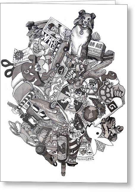 Grayscale Drawings Greeting Cards - Difrancesco Legacy Greeting Card by Tyler Auman