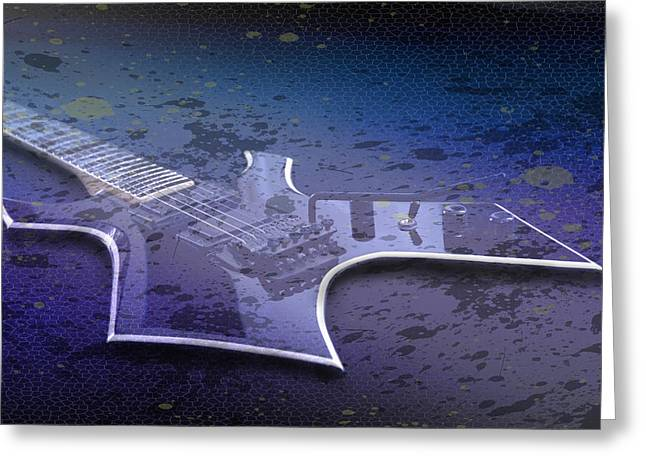 String Art Greeting Cards - Digital-Art E-Guitar I Greeting Card by Melanie Viola