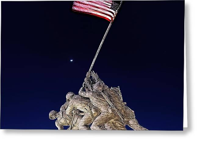 Flags Digital Art Greeting Cards - Digital Drawing - Iwo Jima Memorial at Dusk Greeting Card by Metro DC Photography