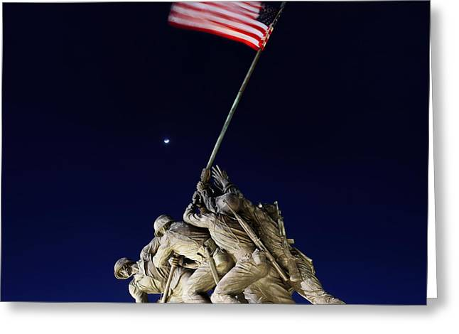 Flags Digital Art Greeting Cards - Digital Liquid - Iwo Jima Memorial at Dusk Greeting Card by Metro DC Photography
