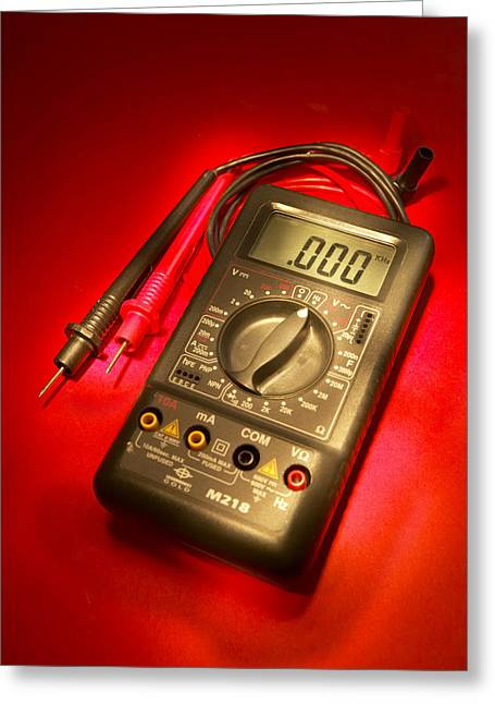Electric Current Greeting Cards - Digital Multimeter Greeting Card by Mark Sykes