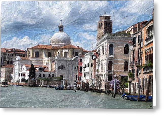Digital.oil Greeting Cards - Digital Oil Painting of Historic Venice Greeting Card by Heinz G Mielke