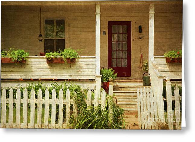 Digital Painting Of Front Porch Rural Farmhouse Greeting Card by Sandra Cunningham