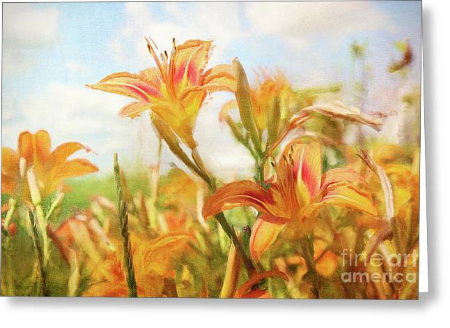 Digital painting of orange daylilies Greeting Card by Sandra Cunningham