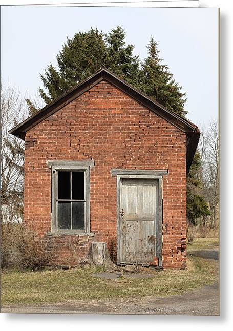 Residential Structure Greeting Cards - Dilapidated Old Brick Building Greeting Card by John Stephens