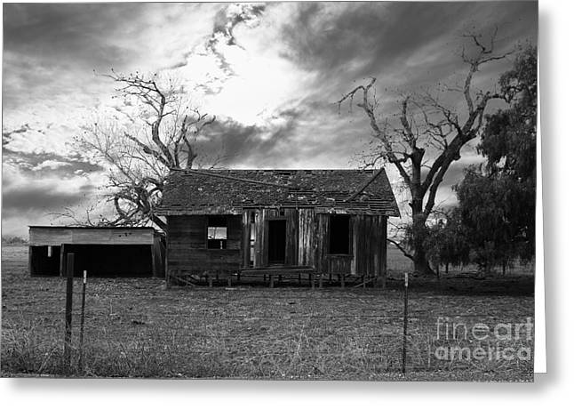 Dilapidated Houses Greeting Cards - Dilapidated Old Farm House . 7D10341 . black and white Greeting Card by Wingsdomain Art and Photography