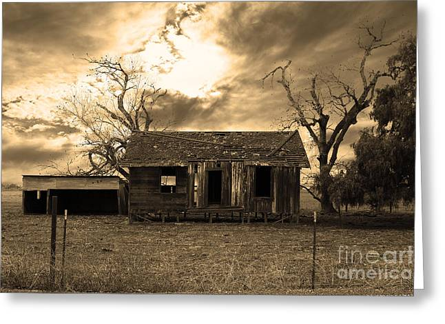 Dilapidated Houses Greeting Cards - Dilapidated Old Farm House . 7D10341 . sepia Greeting Card by Wingsdomain Art and Photography
