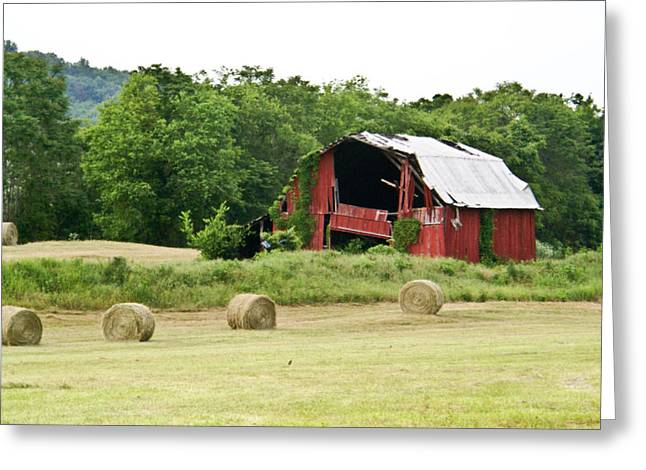 Tennessee Hay Bales Greeting Cards - Dilapidated Old Red Barn Greeting Card by Douglas Barnett