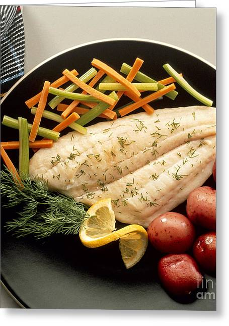 Low-fat Greeting Cards - Dilled Fish Fillet Greeting Card by Photo Researchers